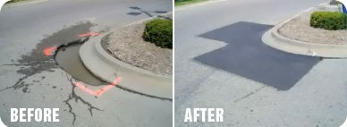 before after infrared asphalt repair