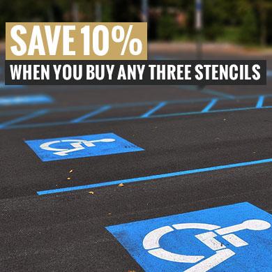 save 10% on parking lot stencils